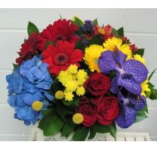 Большой букет из голубой гортензии, орхидеи ванды, красных роз, желтых калл, статицы, красных гребер, альстромерии, гиперикума, желтых мини-гербер, краспедии, кустовой хризантемы, зелени с атласными лентами без упаковки